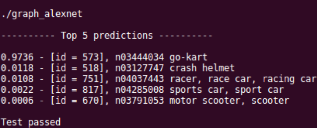 screen shot of the top 5 object category predictions
